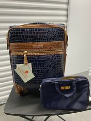 Samantha Brown Croco Luggage Navy 21 Spinner W/ Cosmetic Case New