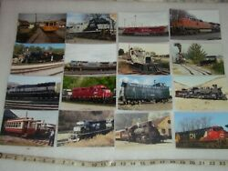 16 Real Photo Train Pictures Penn Central, Prr, Ns, Engines, Trolly, Caboose
