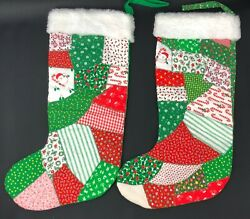 Vintage Farmhouse Christmas Quilt Stocking Stockings Santa Candy Canes Green Red