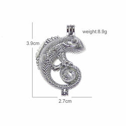 4 Silver Alloy Lizard Pearl Cage Charm Chameleon Pendant Animal Jewelry 39*27mm