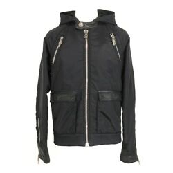 Auth Chrome Hearts Black Mens Lightweight Leater Nylon Polyester Jacket Mens S
