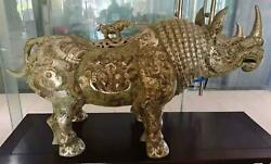 Old Gilt Silver Rhinoceros Ornaments Low Price Promotion