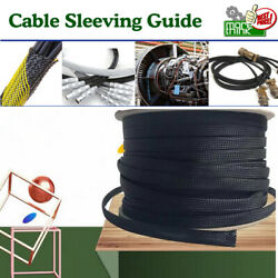 20ft - 50ft Braided Cable Cover Sleeving Wire Loom Harnessing Sheathing Lot