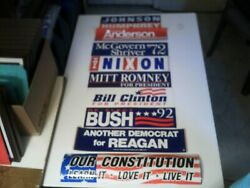 Lot Of 9 Original Vintage Unused All Different Political Bumper Stickers