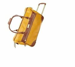 New Samantha Brown Rolling Embossed Wheeled Weekender Classic Mustard Color
