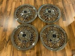 New Set Of 1970-1996 Fits Lincoln Town Car Wire Spoke 15 Hubcaps Wheelcovers
