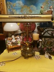 Antique Victorian Ornate Cast Iron And Brass Piano Table Lamp