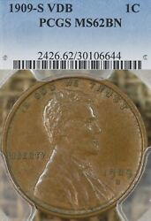 1909 S Vdb 1c Pcgs Ms62 Bn Lincoln Wheat Cent Penny Key Date Original Surfaces