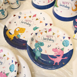 Party Cartoon Dinosaur Theme Cups Plates Tablecloth Decoration Tableware Party