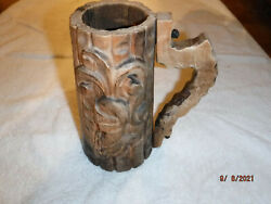 Unique Wooden Carved Renaissance Mug Tankard Stein With Rustic Nailed Handle