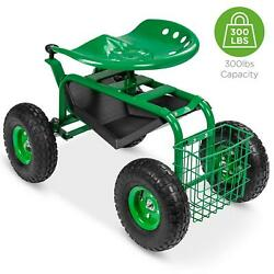 4-wheel Mobile Garden Cart Rolling Yard Work Seat With Tool Tray And Basket New