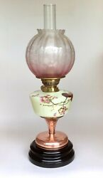 Antique Oil Lamp Painted Glass Font Copper And Ceramic Oil Lamp Base