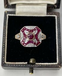 15ct Gold Art Deco / Edwardian Style Ruby And Diamond Panel Ring Size N 1/2 3.2g