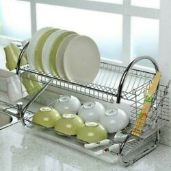 Kitchen Dish Cup Drying Rack Holder Sink Drainer 2-tier Dryer Stainless Steel Us
