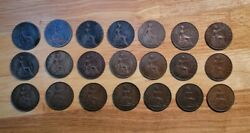1889-1948 Great Britain One Penny Lot Containing 21 Large Copper World Coins