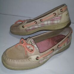Womens Sperrys Top Sider Boat Shoes Size 8.5m Tan Plaid