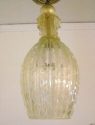 Vintage Italian Murano Barovier And Toso Hanging Light Lamp With Gold Flecks