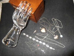 Vintage Sterling Silver 925 Jewelry Lot Navajo Victorian Hearts Chains And Rings