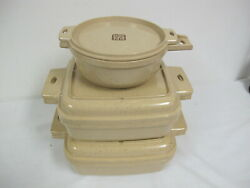 Vintage Littonware Microwave Oven Cookware 6 Pcs Square 1- 1.5 Qts Round 2 Cups