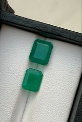 Natural Emerald Minor Oil Faceted 2 Pcs Lot From Zambia 3.50ct