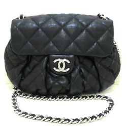 Auth Chain Around A49889 Black Vintage Leather Womens Shoulder Bag