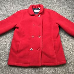 LL Kids LL Bean Double Breasted Pea Coat Jacket Girls Size Large Red Warm Lined $23.99