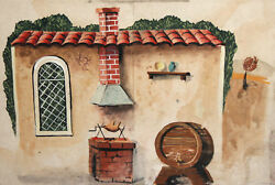 Vintage Watercolor Painting Theatre Stage Design House Wine Cask Fireplace