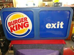 Vintage Burger King Exterior Lighted Exit Sign Believe To Be 1980andrsquos Or Older