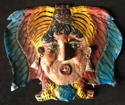 Gypsy Witch W/ Black Cat Painted Copper Guerrero Mexico Festival Mask Halloween