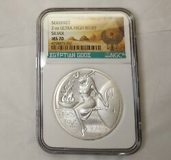 Ms 70 Sekhmet 2 Oz Silver Ultra High Relief Egyptian Gods Bright Ms70 Ounce