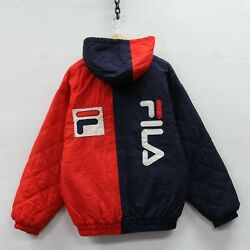 Vintage Fila Puffer Jacket Size Large 90s Navy Blue And Red Hooded Insulated
