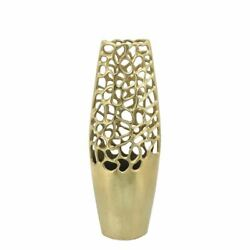 Upscale And Modern Metal 20h Cut-out Vase Gold