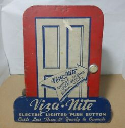 C.1940s Viza Nite Doorbell Display Sign Lighted Push Button And Chime Painted Wood
