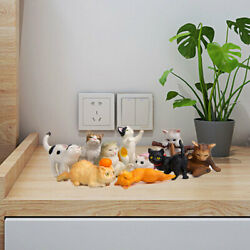 10x Adorable Cat Figures Figurines Learning Cake Toppers Collectibles Gifts