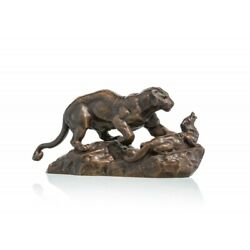 Antique 19th Original French Bronze Figurine Lion Attacking An Otter Signed