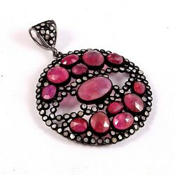 925 Sterling Silver Rose Cut Diamond Natural Ruby Pendant Party War Jewelry P182