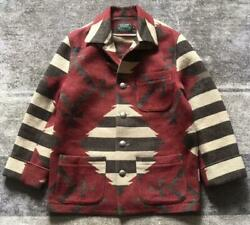 Country Rug Jacket Native Pattern 90's Vintage Outer Mens M Size