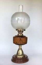 Antique Oil Lamp Amber Glass Font Brass And Ceramic Oil Lamp Base