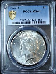 1927-s Peace Silver Dollar - Pcgs Ms 64 - Gold Shield