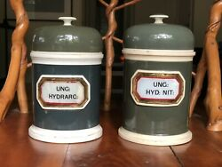 Pair Of Continental Porcelain Apothecary Jars 19th. C Pearlware Glass Labels