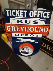 Vintage Porcelain Greyhound Ticket Office Bus Depot Sign Thick Metal Gas Oil