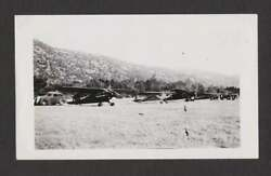 Private Airplanes Old Car Grassy Field Hills Old/vintage Photo Snapshot- K408