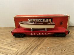 Lionel No. 6801 Flat Car With Brown Over White Boat
