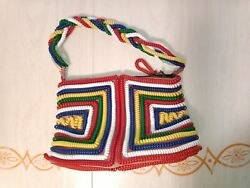 Vintage Phone Cord Purse Colorful Small Shoulder Bag Green Red Blue Yellow