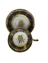 Rare Aynsley Gold And Sapphire Blue C941 Bone China Teacup And Saucer Excellent