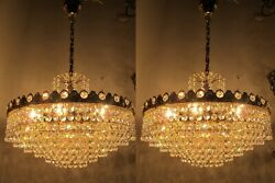 Pair Of By Palwa Austrian Real Crystal Chandelier Lamp 1960s 17in