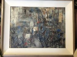 """MID CENTURY MODERN OIL PAINTING """"SNOW FALL"""" SIGNED ORA KING PICASSO ERA"""