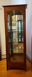 Stickley Furniture Mission Collection Tall Display Cabinet Oak Wood Mint