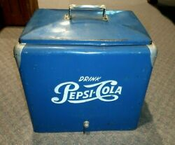 Vintage 1950s Pepsi Cola Blue And White Soda Metal Cooler Ex Cond