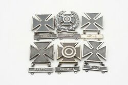 Wwii Sterling Army Rifle Marksman, Sharpshooter, Expert Badges Lot Of 6